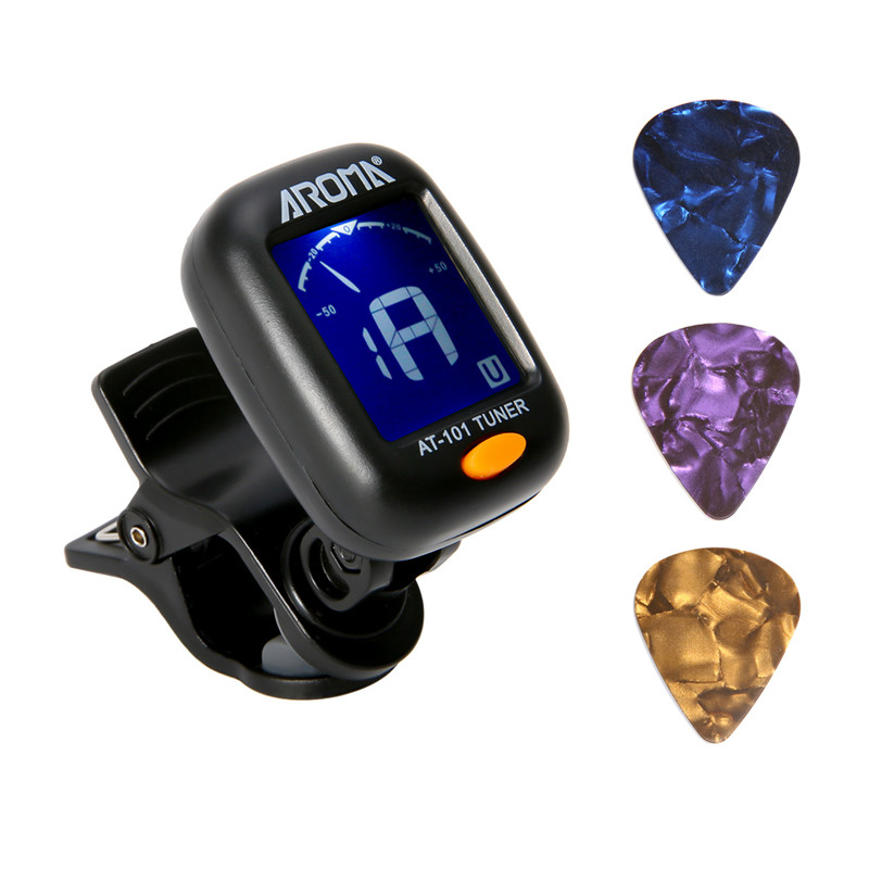 Portable Clip-On Digital Tuner with LCD Display for Bass Guitar Ukulele Musical Stringed Instruments Parts Accessories