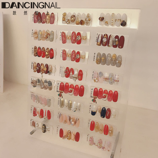 120pcs Nail Art Tips Display Rack With Magnetic Acrylic Board Stand Desktop Storage Holder Salon