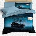 Еще 4 шт.  матросский пиратский корабль  Ночная Луна  синий  дети  3D принт  хлопок  сатин  один пододеяльник  Комплект постельного белья  наволо...