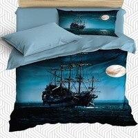 Jeszcze 4 sztuka marynarz statek piracki noc księżyc niebieski dzieci 3D druku satyna bawełniana pojedyncze poszewka na kołdrę zestaw poszewka na poduszkę łóżko czy doliczone zostaną dodatkowe opłaty w Kołdra od Dom i ogród na