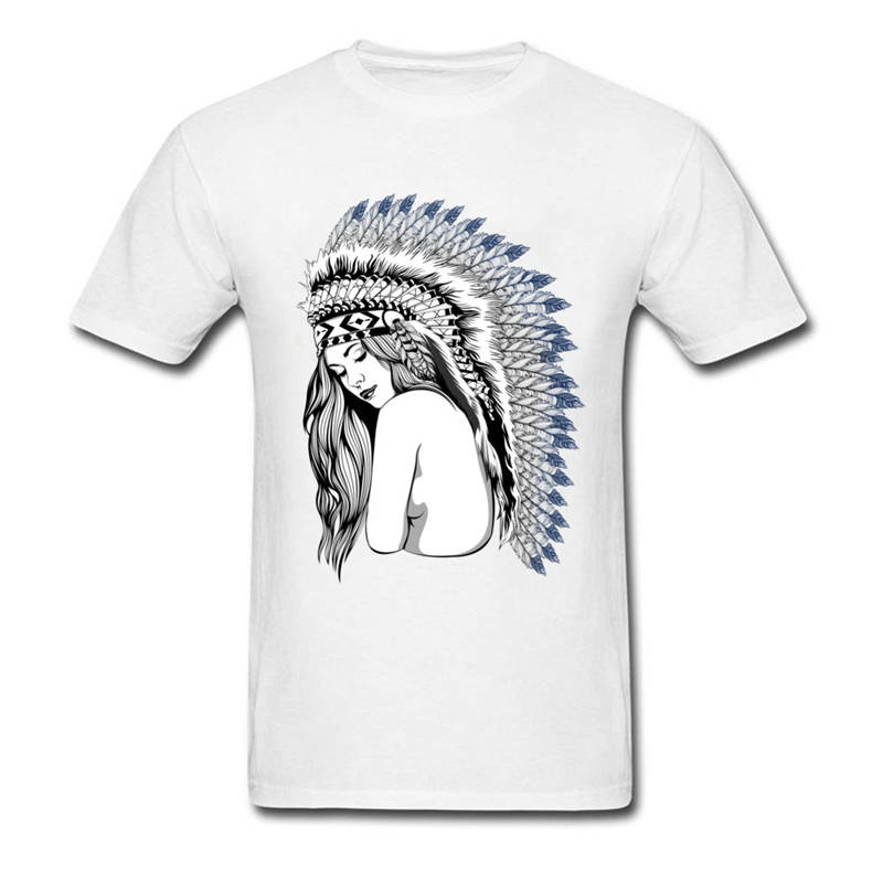 Offensive T Shirts Short Sleeve Top Crew Neck Mens Sexy Apache Tribe Girl T Shirt