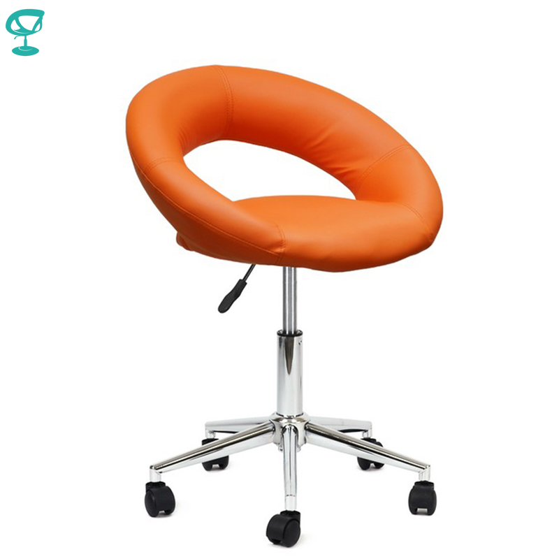 94694 Barneo N-84 Leather Roller Kitchen Chair Swivel Bar Chair Orange Color Free Shipping In Russia