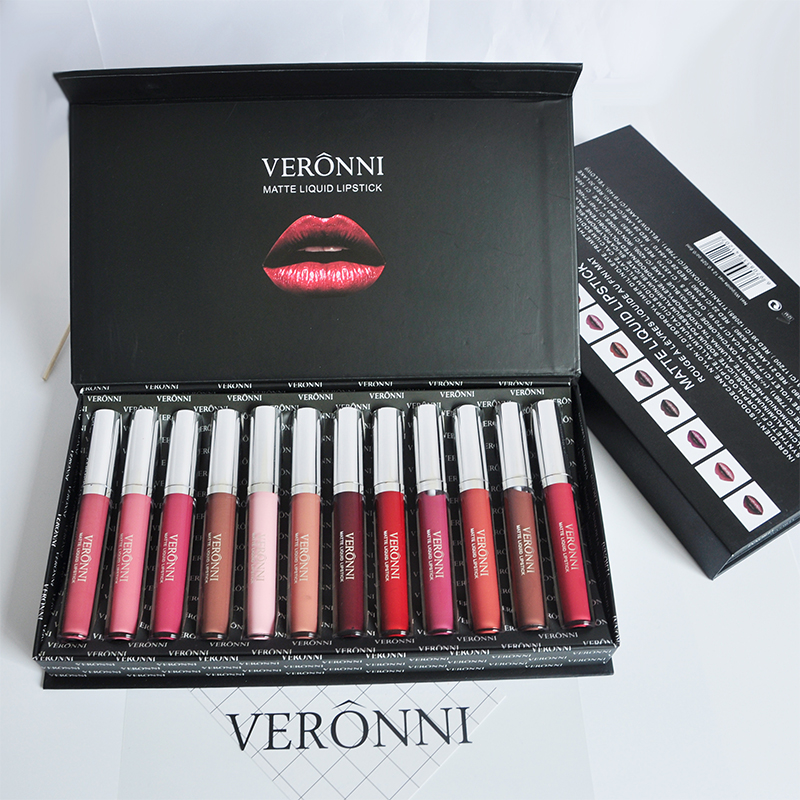 все цены на In Stock New Original VERONNI Beauty Cosmetics Lips Makeup Long Lasting Matte Lip Gloss Set 12 Colors Liquid Lipstick Sets онлайн