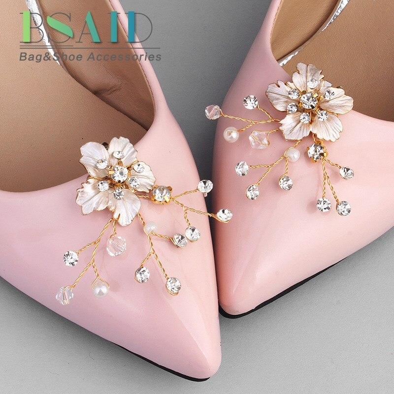 BSAID 1 Pair Pearl Decorative Shoe Clips, Rhinestone Crystal Charm Elegant Flower Fashion Wedding Shoes Decorations Accessories цена