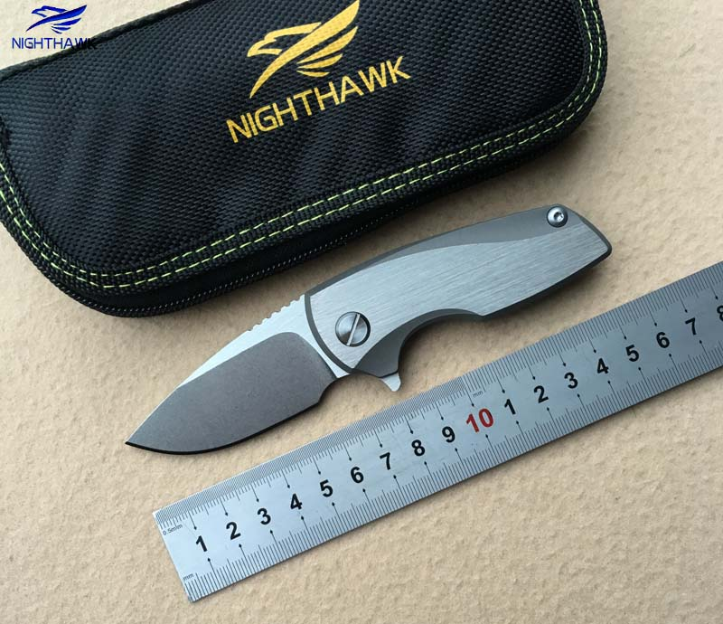 NIGHTHAWK 009 Flipper folding knife D2 steel blade bearing TC4 titanium handle outdoor hunting camping fruit knife EDC tools franke pxn611 57