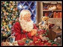 Santa couture Kits de points de croix doux à broder, ensembles de points de croix 14 ct, couleur DMC, couture à la main travaux manuels