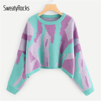 SweatyRocks Multicolor Graphic Print Crop Casual Sweater Long Sleeve Round Neck Pullovers 2018 Autumn Fashion Women Tops