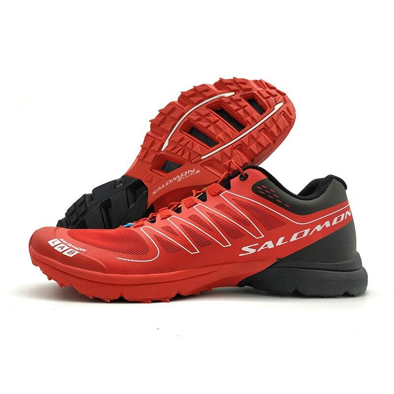New red Salomon S-LAB SENSE M Men's Shoes Outdoor Jogging Sneakers Lace Up Athletic Shoes running Shoes Men's Shoes size 40-46 colour block lace up splicing athletic shoes