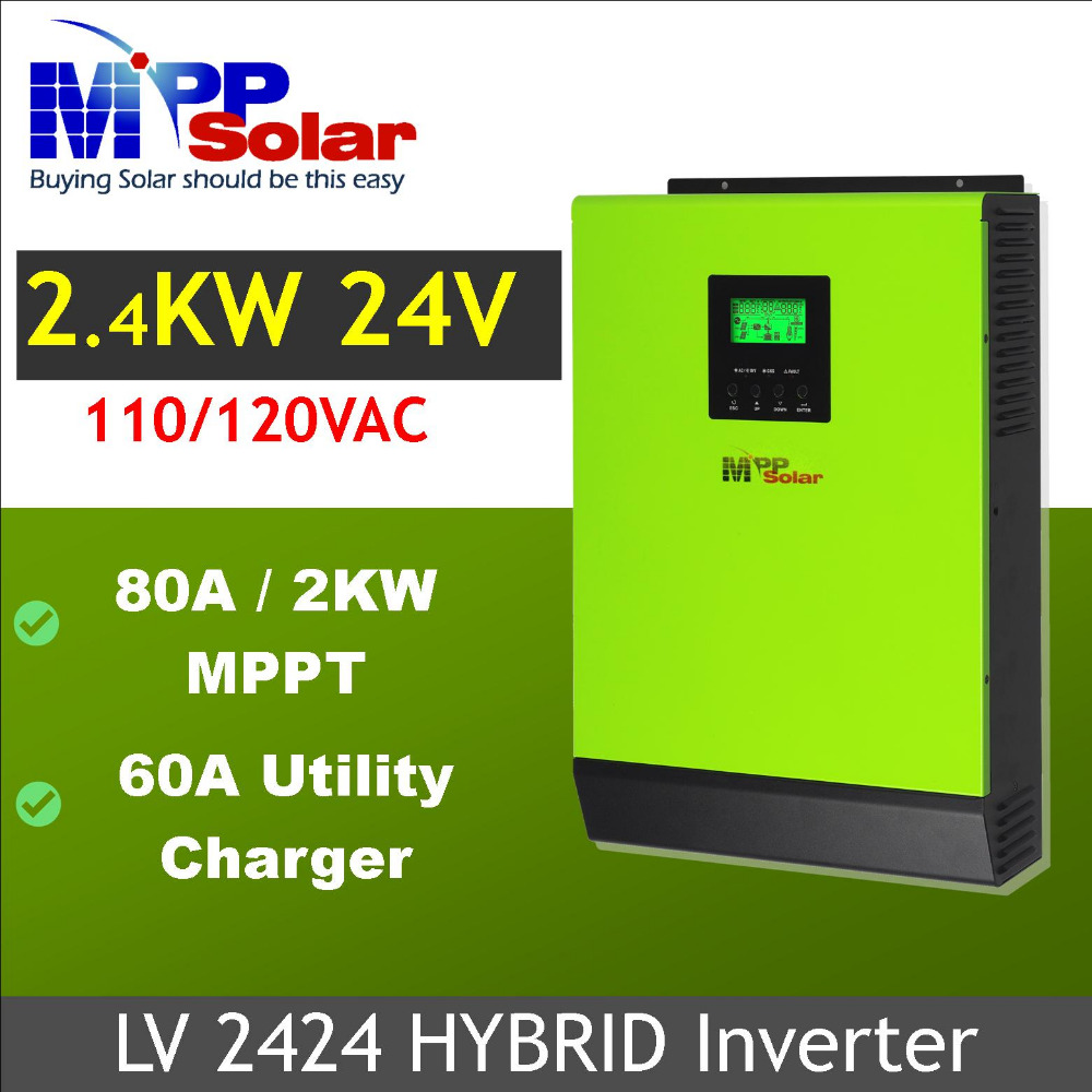 (HV) 2400W 24VDC 110VAC Hybrid Solar inverter 80a MPPT solar charger +60a battery charger-in Inverters & Converters from Home Improvement    1