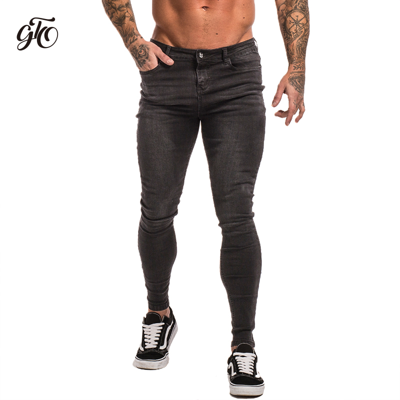 Gingtto Skinny   Jeans   For Men Super Stretch Mens Skinny   Jeans   Big Size Tight Pants Comfortable Grey Denim   Jeans   28-36 zm09