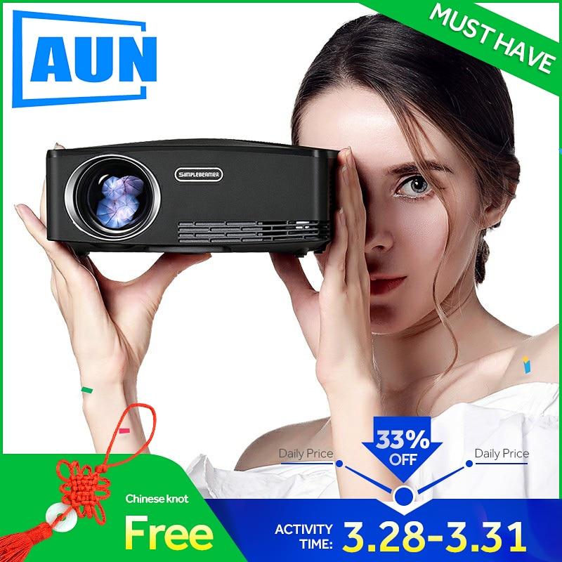 AUN C80 HD MINI proyector 1280x720 P Video Beamer 3D proyector Apoyo a 1080 P HD-IN USB (opcional C80 Android versión WiFi)