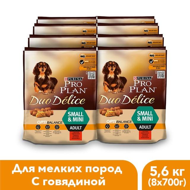 Сухой корм Pro Plan DUO DÉLICE для взрослых собак мелких и карликовых пород с говядиной и рисом, 5.6 кг.
