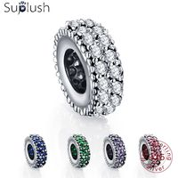 Suplush 100% 925 Sterling Silver Spacer Charm Beads Fit Original Brand Bracelet Pendant Authentic Women Jewelry 0009 Beads