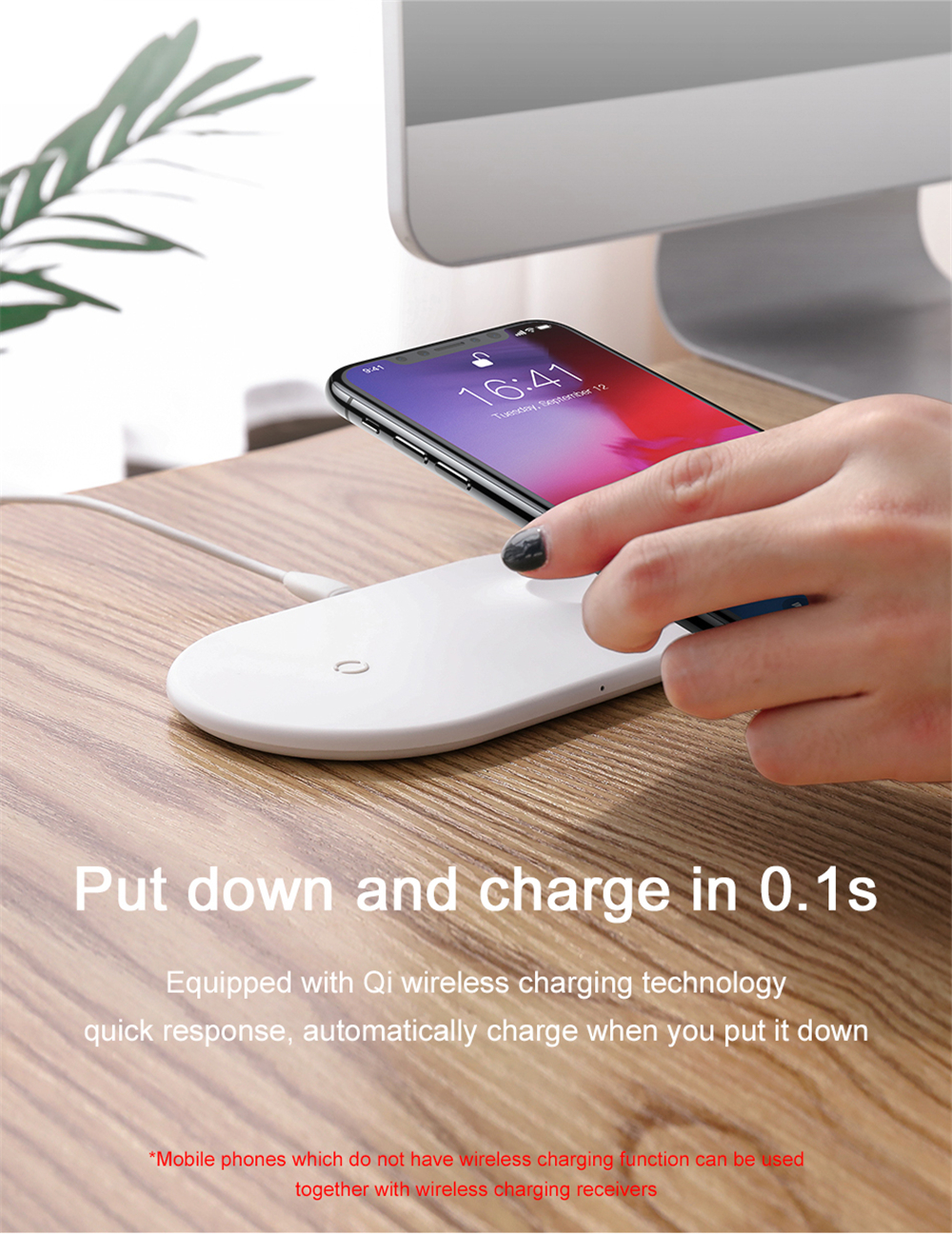 BASEUS BSWC-P19 Double Bases Smart 2-in-1 Wireless Charger Fast Charging Pad - White-8