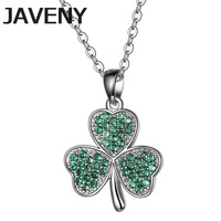 925 Sterling Silver Jewelry Green Cubic Zirconia Irish Shamrock Leaf Clover Wedding Pendants Necklaces for Women Birthday Gifts