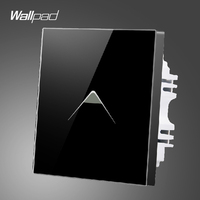 Wallpad Smart Home Switch 110 250V UK Black Tempered Glass Touch Switch 1 gang 2 way,Free Shipping