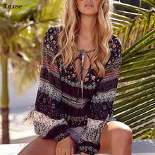 2018 Xnxee Women Boho Shirt Printed National Style Loose Long Sleeve V Neck Lace up Tops Ladies Casual Beach Party Blouse Blousa tropical style long sleeves round neck printed lace up swimsuit for women