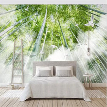 Modern minimalist fresh cloud artistic conception bamboo forest bird background wall manufacturers wholesale wallpaper murals cu
