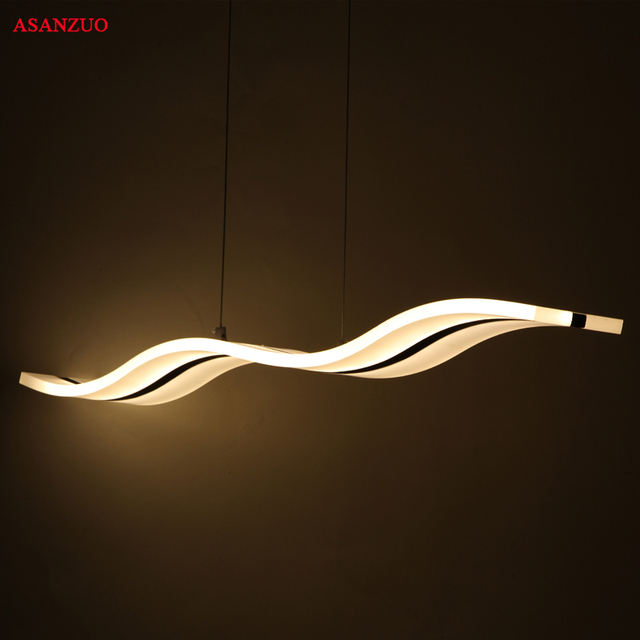 38W45W Modern Pendant Lights Kitchen Living Dining Room LED Suspension Light Fixtures Hanging Lamp Acrylic Wave Suspension Lamps