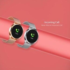 Image 4 - Rundoing q8 rosa versão relógio inteligente tela colorida oled rastreador de fitness monitor sono freqüência cardíaca pressão arterial smartwatch