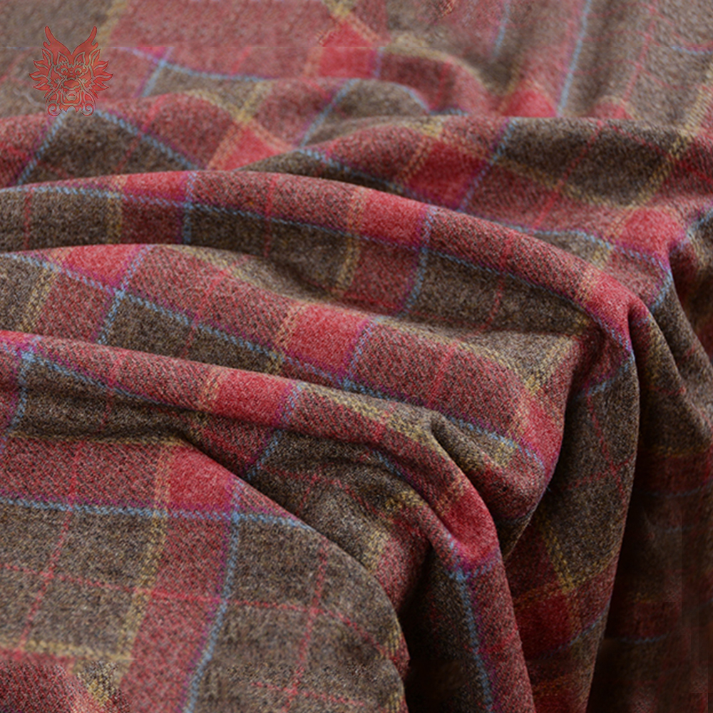 Europe style red brown contrast plaid 80% wool fabric for winter autumn coat dress woolen fabrc telas tecidos stoffen SP5509