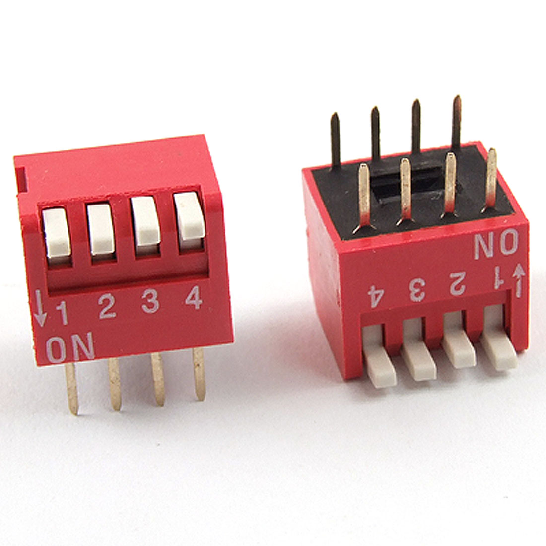 UXCELL 10Pcs 4 Positions 8P 8 Pin 2.54Mm Pitch Side Piano Type Dip Switch Red Switching Rating 25mA DC 24V For Data Processing
