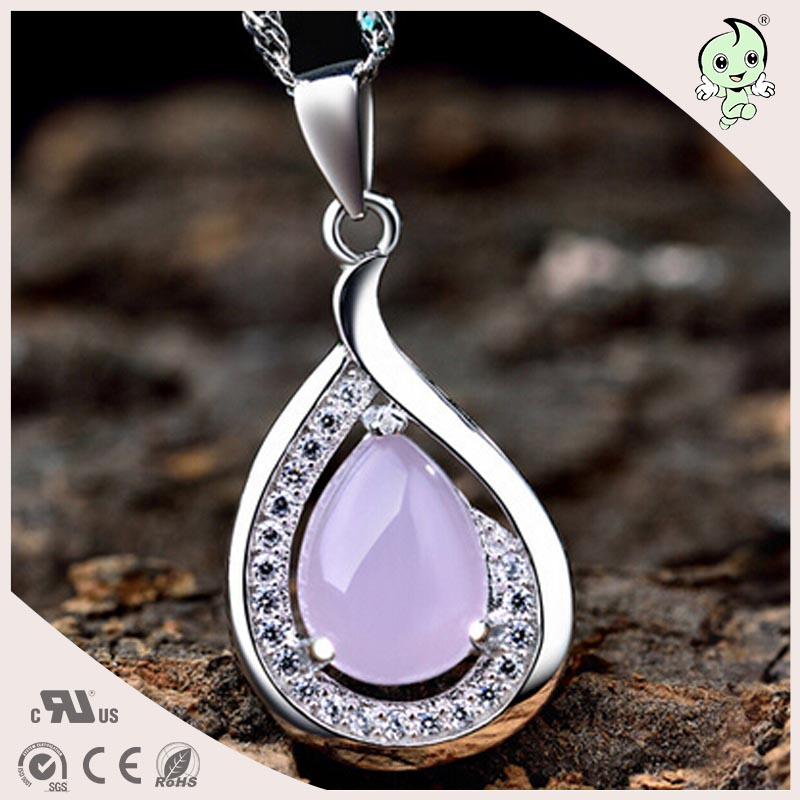 Beautiful Light Purple Water Drop Shape Crystal 925 Sterling Silver Necklace Pendant artificial crystal geometric water drop necklace
