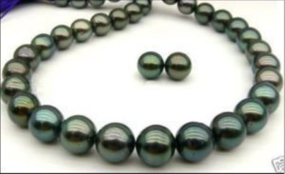 Exquisite 9-10mm Tahitian black AAA pearl necklace 18 inch earring >>>girls jewelry sets Free shippingExquisite 9-10mm Tahitian black AAA pearl necklace 18 inch earring >>>girls jewelry sets Free shipping