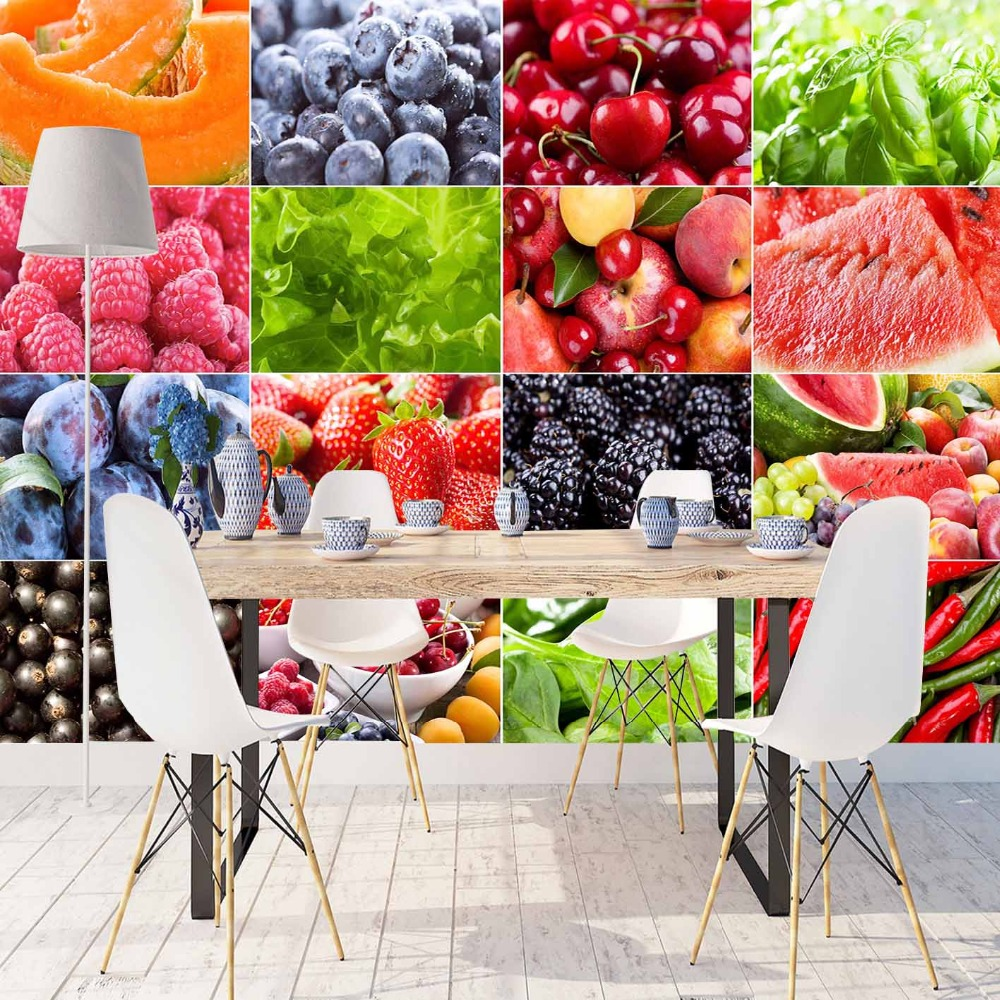 Else Colored Vegetables Fruits Patchwork 3d Print Photo Cleanable Fabric Mural Home Decor Kitchen Background Wallpaper