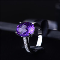 2017 New Arrival 925 Sterling silver Ring Natural yellow purple Rockcrystal Fireworks Face Ring Factory Wholesale dropship A06