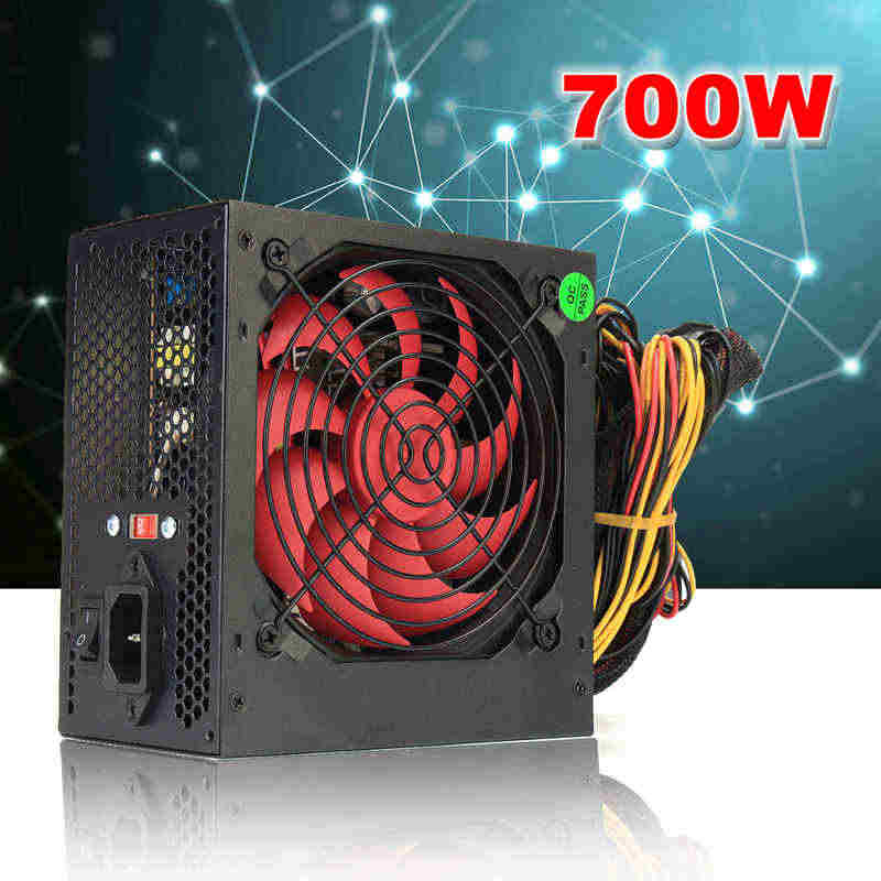AU/EU/US Plug Max 700W PCI SATA ATX 12V Game PC Power Supply 24Pin/ molex/SATA 700Walt 12 Cm Fan Power Supply Komputer untuk BTC