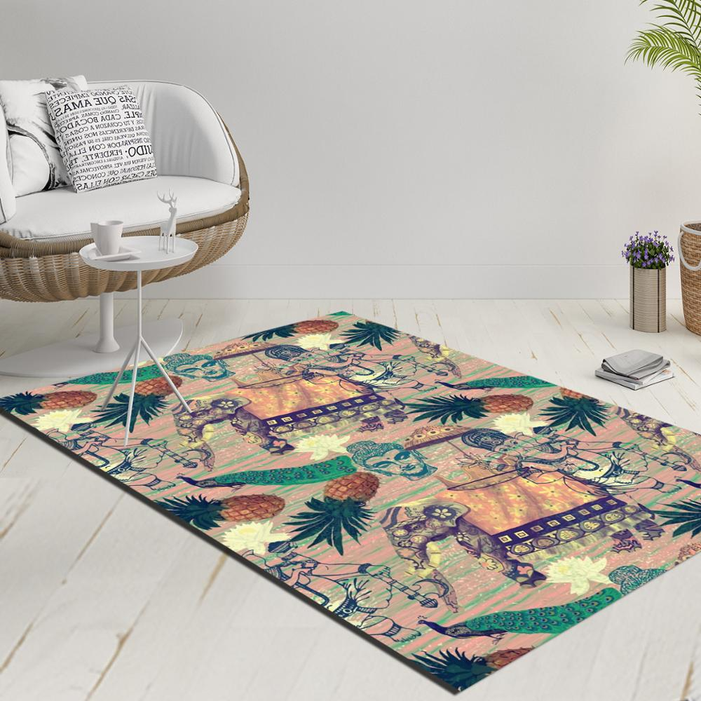 Else Tropical Pineapple Pink Green Gray 3d Print Anti Slip Kilim Washable Decorative Kilim Rug Modern Carpet