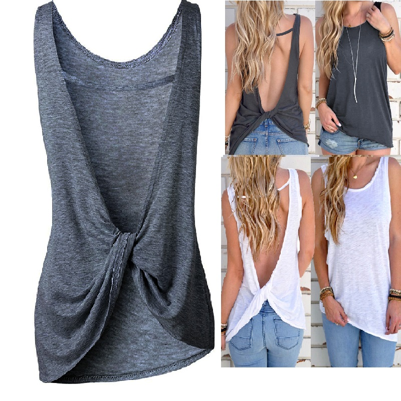 Women Sexy Sleeveless Vest Women Sexy Sleeveless Backless Vest Sexy Tops Open Back Knotted Crop A Line Shirt