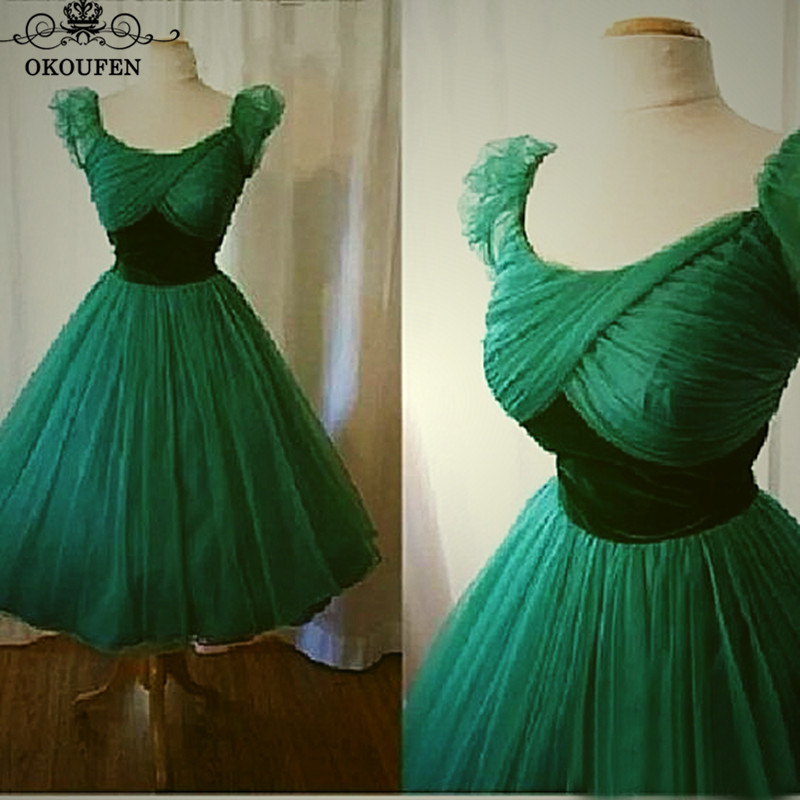1950s Vintage Tea Length   Bridesmaid     Dresses   With Bishop Sleeves Green Tulle Velvet Waist A Line 2018 Prom   Dress   Party For Women