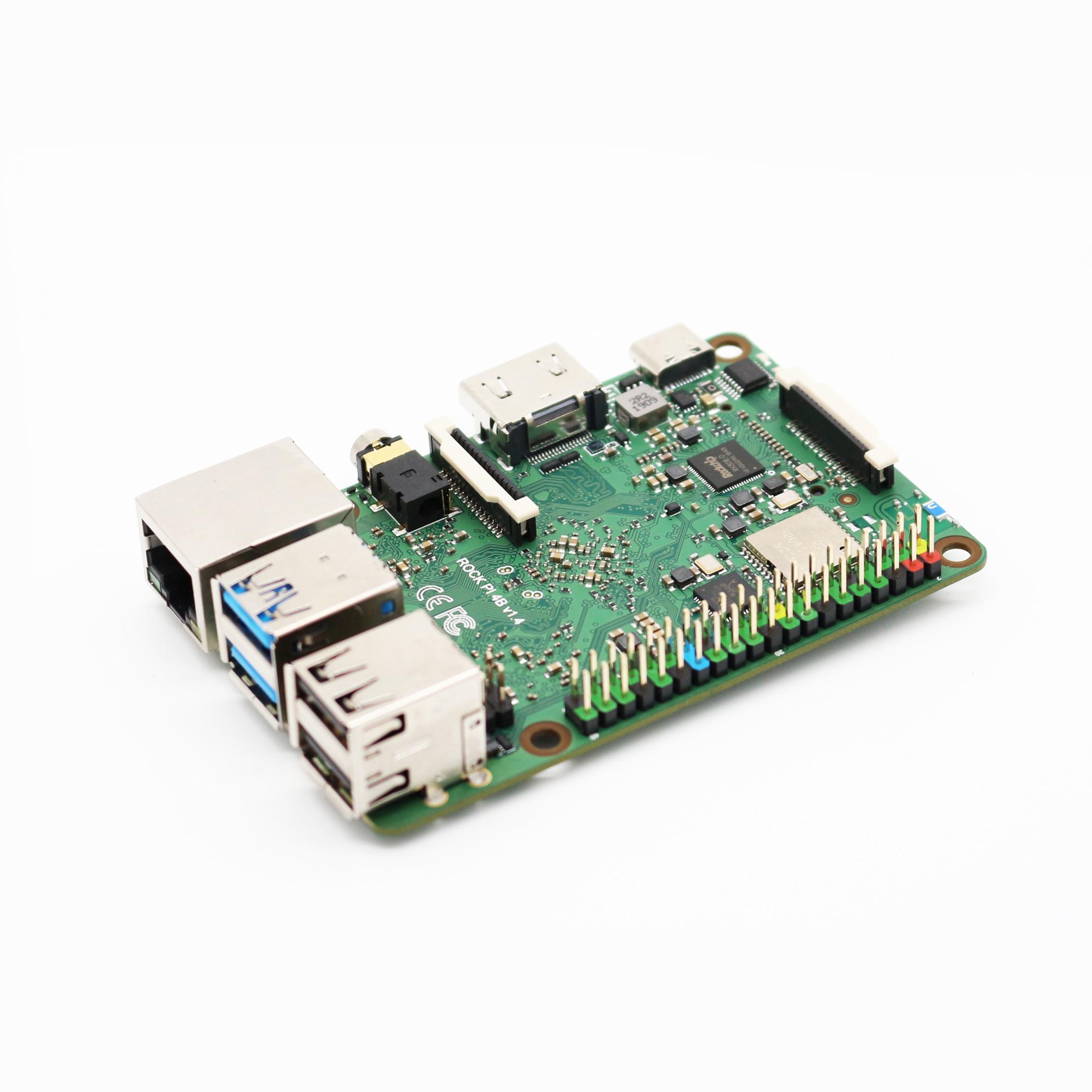 ShenzhenMaker Loja ROCHA Pi 4B V1.4-RK3399 64 Bit Hexa Core CPU-4 GB LPDDR4 RAM-HDMI 2.0 até 4k @ 60