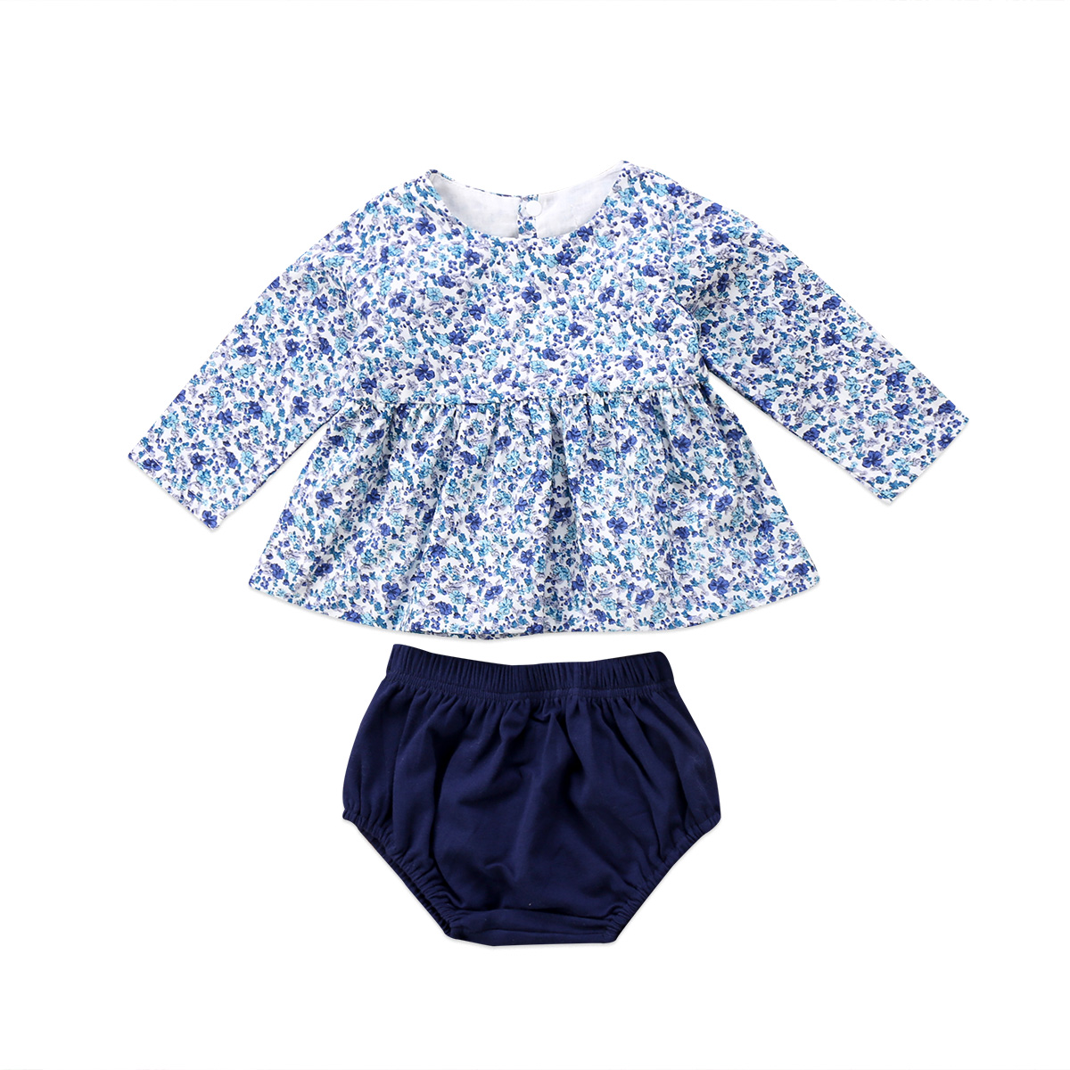 Newborn Kid Baby Girls Clothes Sets Floral Dress Tops Long Sleeve Shorts 2pcs Briefs Clothing Set Baby Girl Outfits 0 24m floral baby girl clothes set 2017 summer sleeveless ruffles crop tops baby bloomers shorts 2pcs outfits children sunsuit