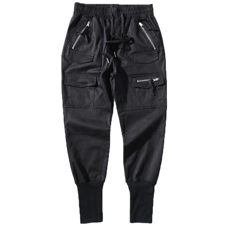 Image 4 - Брюки шаровары мужские, хлопковые, черные, на молнии, с  карманами, повседневные, тонкие, весенниеПовседневные брюки   -