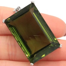 Deluxe Top AAA+ Rectangle Big Gemstone 30x20mm Green Amethyst Womans Party Silver Pendant 40x21mm