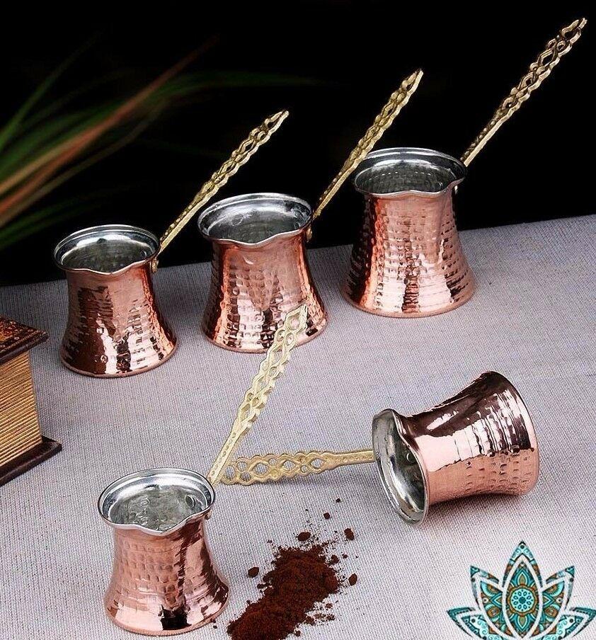 Hand Hammered Copper Turkish Coffee Pot Ibrik Vintage Jazzva Briki Brass Handle