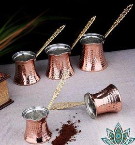 Hand Hammered Copper Turkish Coffee Pot Ibrik Vintage Jazzva Briki Brass Handle()