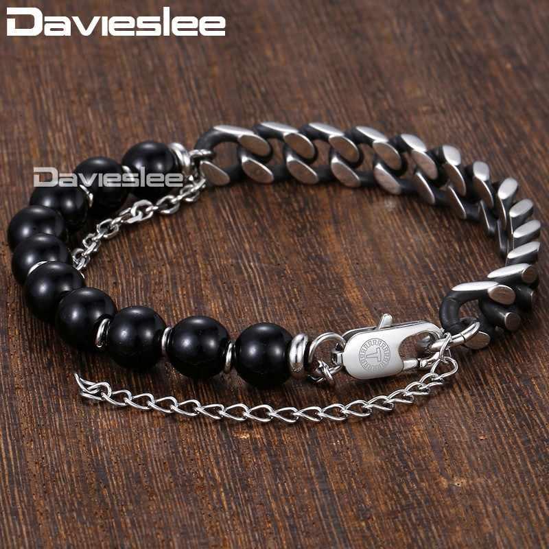 Davieslee Beaded Bracelet for Men Women Blue Glass Boho Curb Link Stainless Steel Mens Chain Bracelet Gunmetal Silver DDLBM04