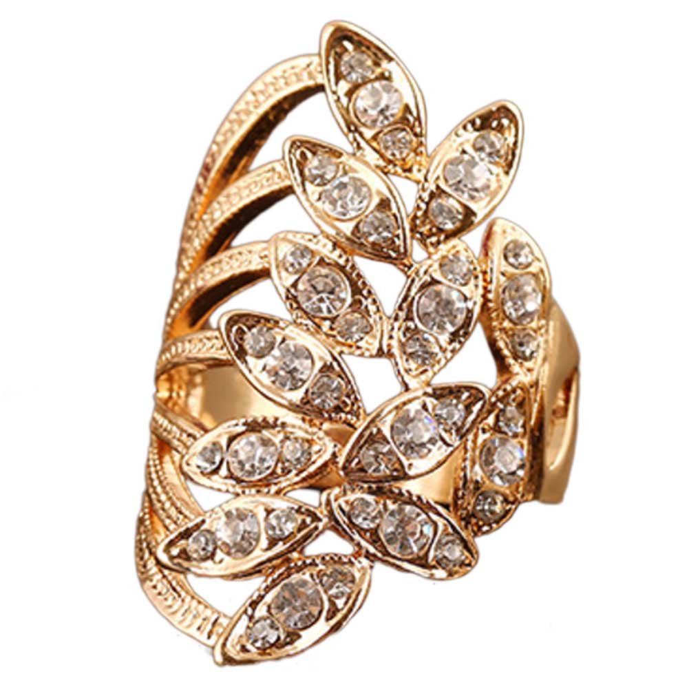 Vintage Big Ring Antique Gold Color Cross Leaves Crystal Rings For Women Turkish Jewelry Fashion Rhinestone Rings