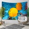 Еще синий под морем желтый тропический аквариум 3D печать декоративный хиппи богемный настенный гобелен с пейзажем настенное искусство