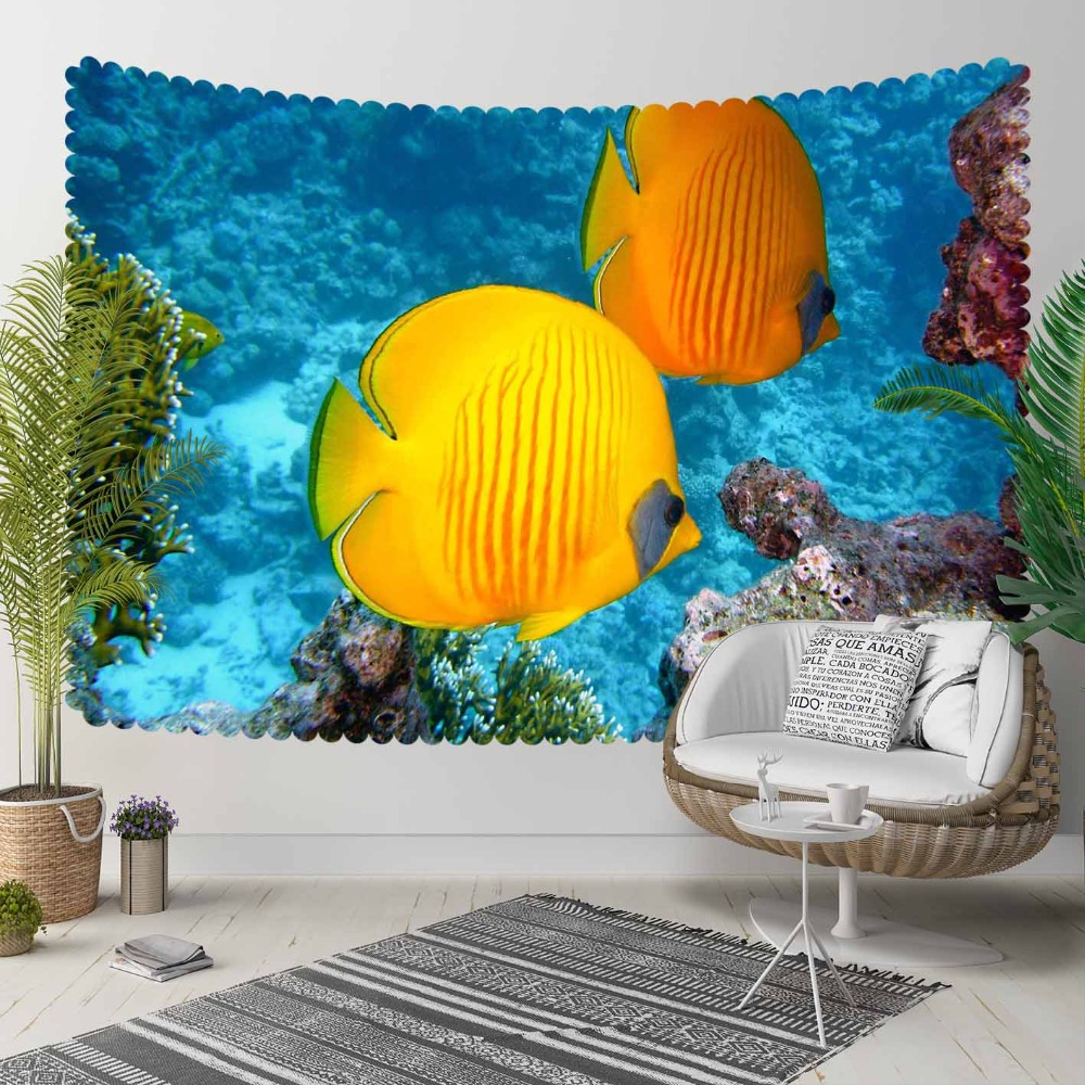 Else Blue Under Sea Yellow Tropical Fishes Aquarium 3D Print Decorative Hippi Bohemian Wall Hanging Landscape Tapestry Wall Art