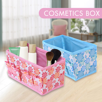 Wielofunkcyjny składany włóknina Make Up Desktop kosmetyczka Organizer schowek szafa szuflada Organizer dla Scarfs skarpety tanie i dobre opinie Tkanina nietkana