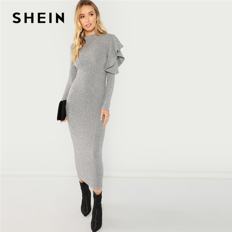 1f55ab75816e SHEIN Grey Elegant Party Ruffle Detail Round Neck Long Sleeve Natural Waist  Solid Dress 2018 Autumn