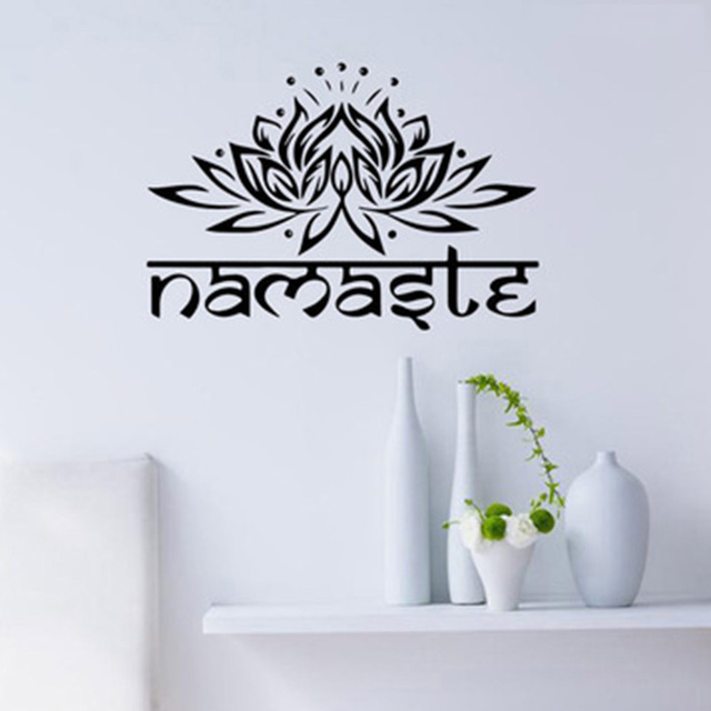 1 Pc Lotus Flower Wall Decal Yoga Namaste Stickers Home Decor Living Room Bedroom