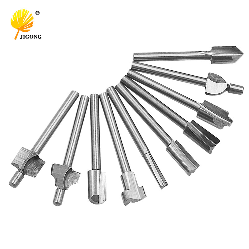 10pcs 1/8 3mm Shank Mini HSS Router Bits Fits Dremel Foredom Rotary Tool Set Woodworking Knife Edge Repair Carpenter Drill Bit 4cm 1 57 carbide cnc hss router drill bits titanium nitride coated mini wood cutter milling fits dremel rotary tool set