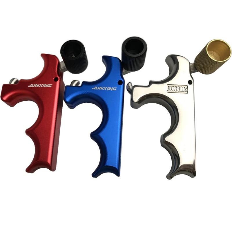 양궁 3 손가락 릴리스 스테인레스 스틸 양궁 캘리퍼스 엄지 그립 복종 화살 왼쪽과 오른쪽 손을 화살 사냥
