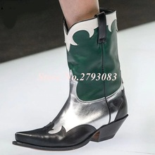 Stivali Donna Vintage Green-Silver Half Boots Middle Heels Pointed Toe Knight Boots Womens Cowboy Boots Genuine Leather Size 42 half boots british passport half boots